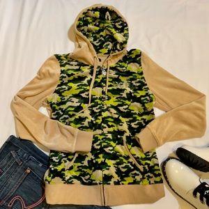 BCBGMaxAzria Camouflage Hoodie Velour Fabric Soft
